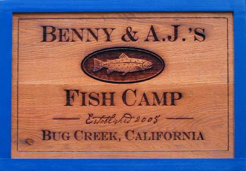 wooden camp sign featuring a trout, fish signs for your cabin