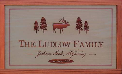 wooden sign featuring an elk and pine trees to customize, elk sign, cabin sign